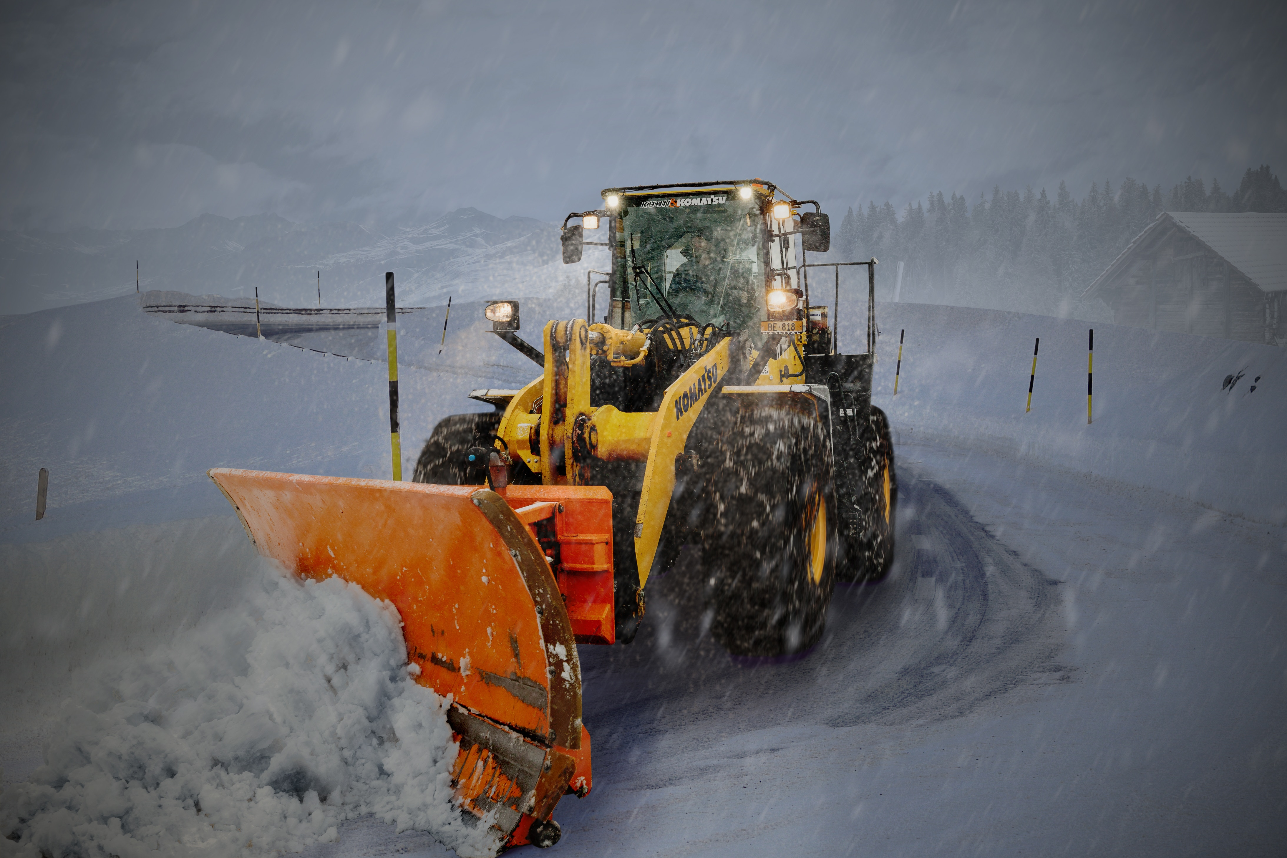 snow plough in snow